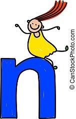 letter N girl - little girl climbing over giant letter N -...
