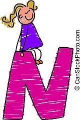 little girl sitting on letter N
