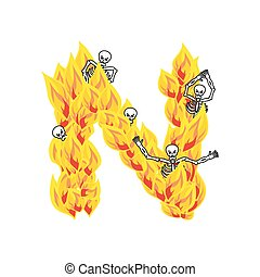Letter N hellish flames and sinners font. Fiery lettering. Infernal fire alphabet sign. ABC devilish flame of Death Satanic and skeleton