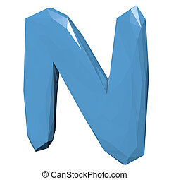 Letter N in Low Poly Style on white background.3D Rendering. Illustration