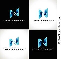 Letter N Logo - Abstract letter N logo design on black and...