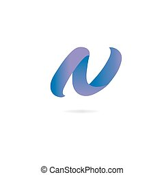 Letter N logo. Design template elements, curved lines, ribbon