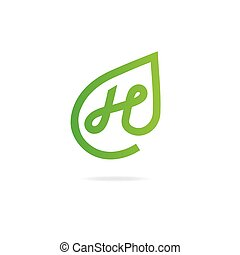 Letter N logo. Design template elements, eco