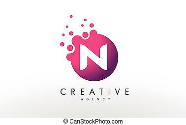 Letter N Logo. N Letter Design Vector - Dots Lette N Logo. N...