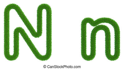 Letter N of green fresh grass isolated on a white background.