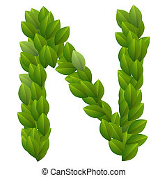 Letter N of alphabet made from green leaves.