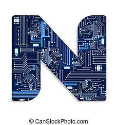 """Letter """"n"""" of technology alphabet"""