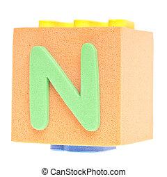 Letter N on Foam Block