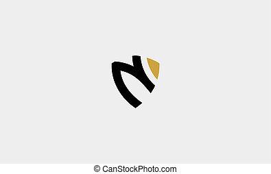 letter N shield monogram logo vector