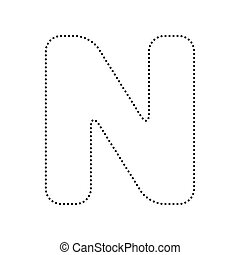 black letter n icon vector element sign logo