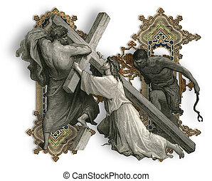 Letter N. - Victorian letter N with Jesus Christ, enfeebled...