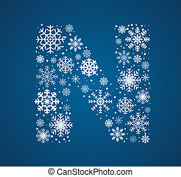 Letter N, vector font frosty snowflakes