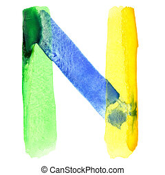 Vivid watercolor alphabet - Letter N - Vivid watercolor...