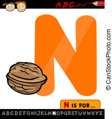 letter n with nut cartoon illustration