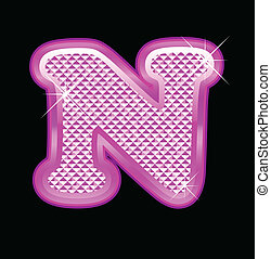 Letter N with pink bling pattern