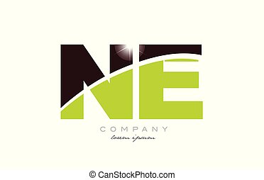 letter ne n e alphabet combination logo icon design with green and brown color suitable for a company or business