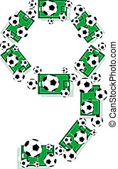 letter Number 9 Nine made from grunge football field and soccer ball