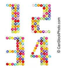 letter numbers made of colorful beads on white background