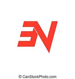 letter nv simple geometric logo vector