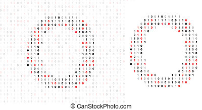 Letter O, alphabet from binary code