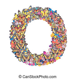 Letter O alphabet with butterfly ABC concept type as logo isolated on white background