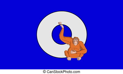 Letter O and Orangutan (foreground) - Animated animal...