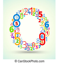 Letter O, colored vector font from numbers