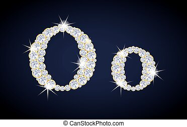 "Letter ""O"" composed from diamonds with golden frame. Complete alphabet set."