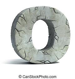 letter O cracked stone   - letter O cracked stone 3d font