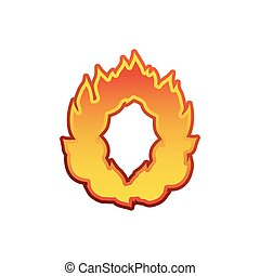 Letter O fire. Flames font lettering. Tattoo alphabet character. fiery sign alphabet