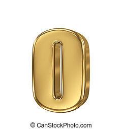 Letter o from gold solid alphabet. Lowercase