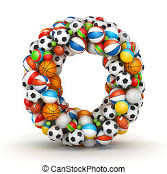 Letter O, gaming balls alphabet - Letter O, stacked from...