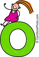 happy little girl sitting on giant letter O - lowercase version