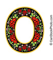 Letter O in the Russian style. The style of Khokhloma on the font. A symbol in the style of a Russian doll on a white background. The font of the football championship 2018.
