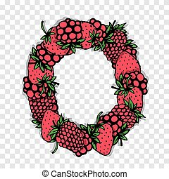 Letter O made from red berries, sketch for your design.