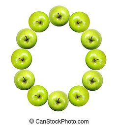 Letter O made of apples