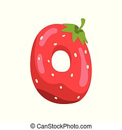 Letter O of English alphabet made from ripe fresh srawberry, bright red berry font vector Illustration on a white background