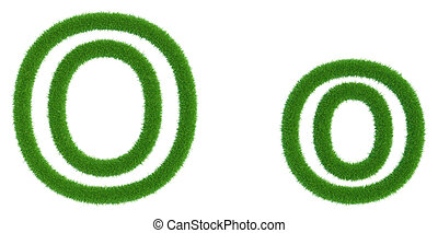 Letter O of green fresh grass isolated on a white background.
