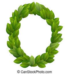 Letter O of green leaves alphabet