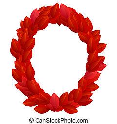Letter O of red petals alphabet