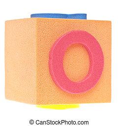 Letter O on Foam Block