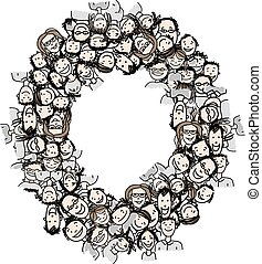 Letter O, people crowd, vector alphabet design