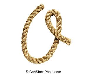 Letter O - old natural fiber rope bent in the form of letter...