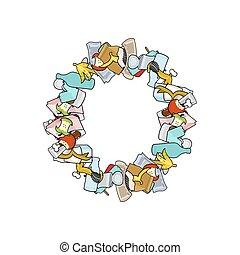 Letter O Rubbish. Trash font. garbage alphabet. Lettering litter