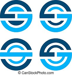 letter O S G simple blue icon