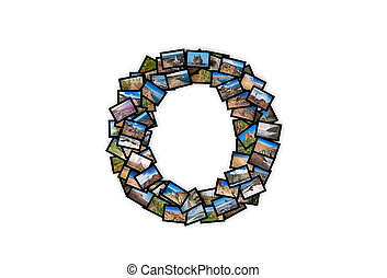 Letter O uppercase font shape alphabet collage made of my...
