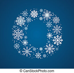 Letter O, vector font frosty snowflakes