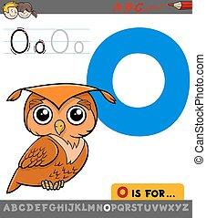 letter o with cartoon owl bird