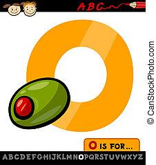 letter o with olive cartoon illustration - Cartoon ...