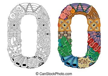 Letter O zentangle for coloring. Vector decorative object